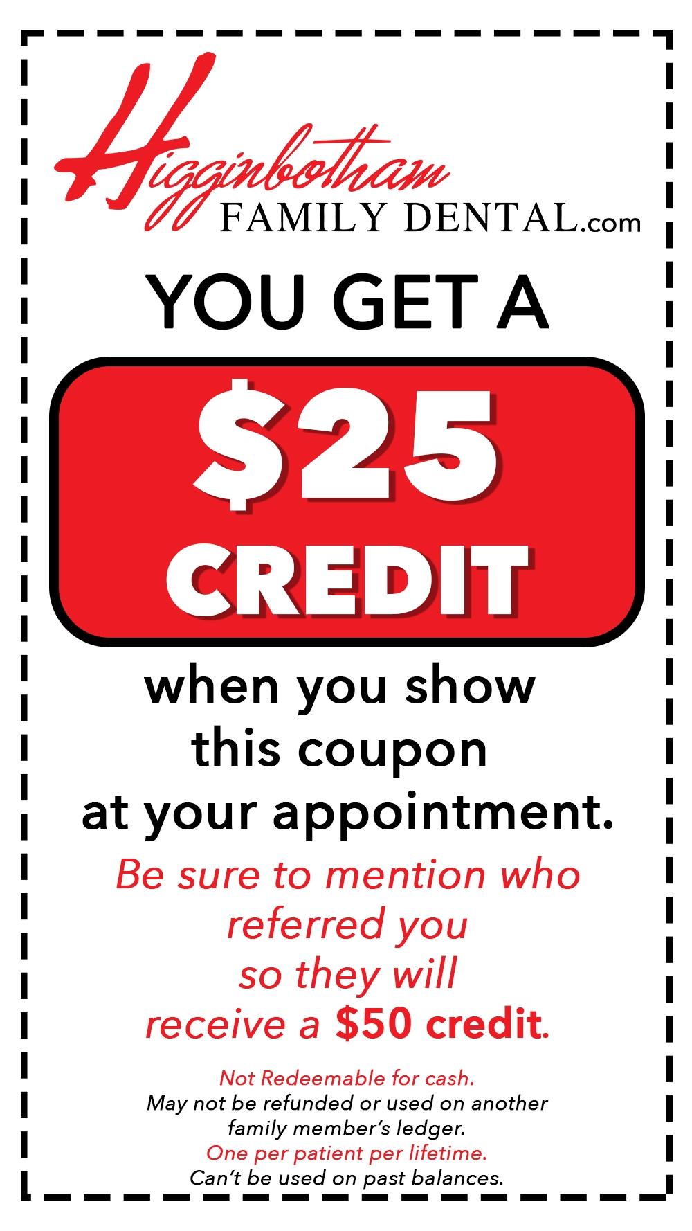 $25 credit coupon